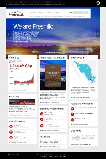 Fresnillo Plc Website Screenshot