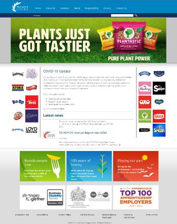 Premier Foods plc Website Screenshot