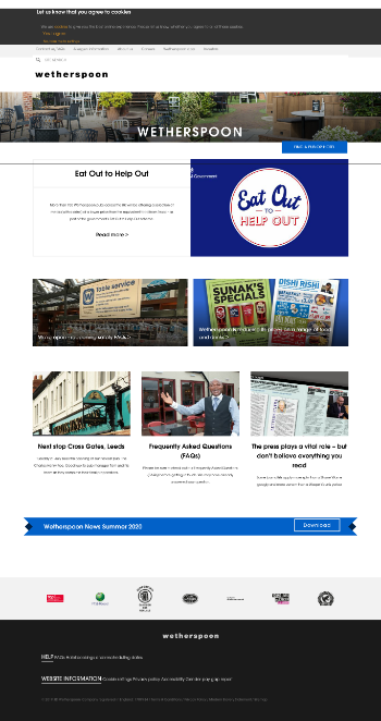 J D Wetherspoon plc Website Screenshot
