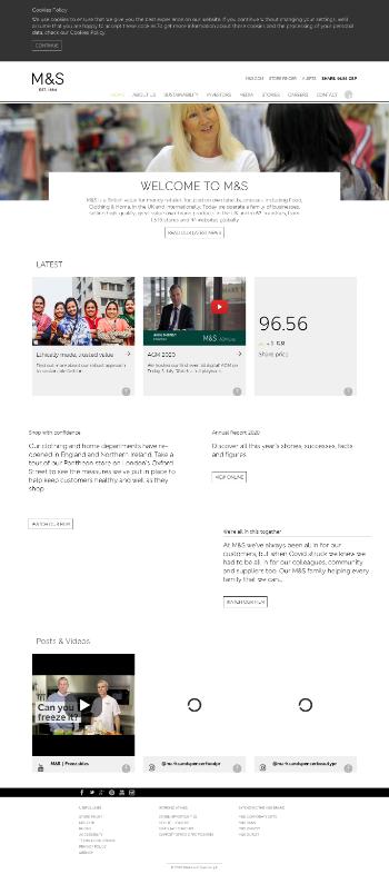 Marks and Spencer Group plc Website Screenshot