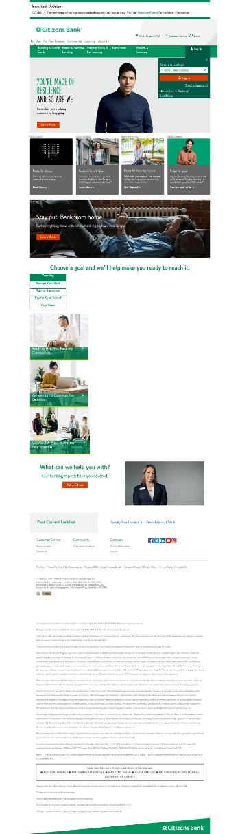 Citizens Financial Group, Inc. Website Screenshot