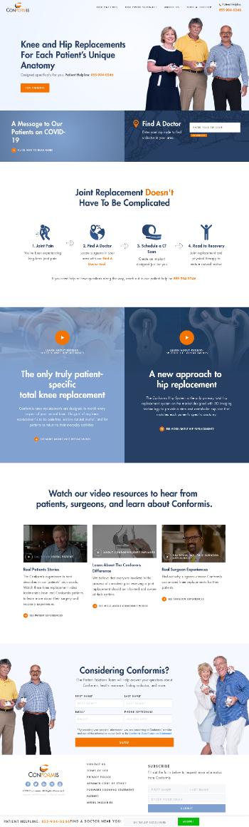 Conformis, Inc. Website Screenshot
