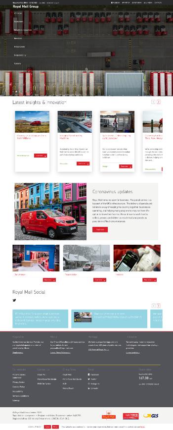 Royal Mail plc Website Screenshot