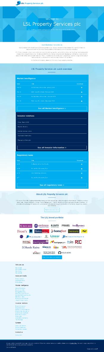 LSL Property Services plc Website Screenshot