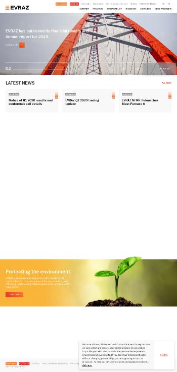 EVRAZ plc Website Screenshot