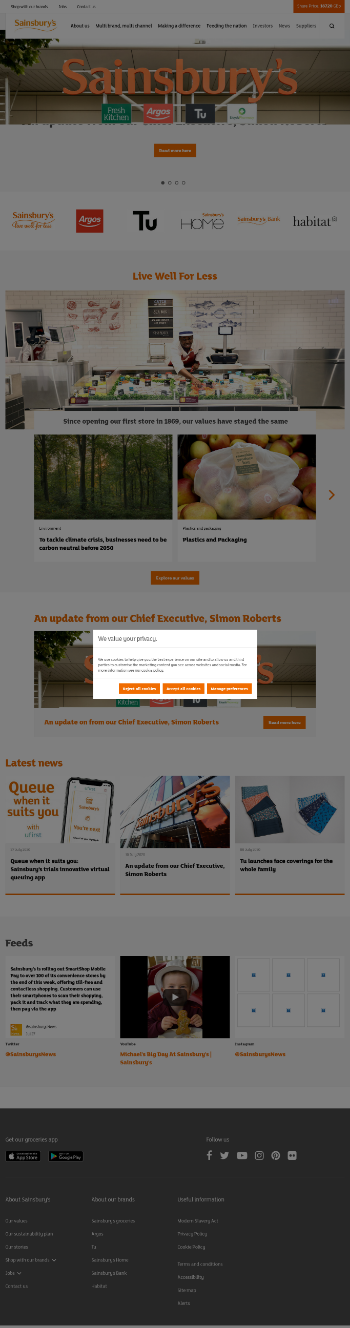 J Sainsbury plc Website Screenshot