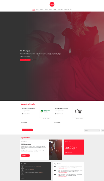 Hyve Group Plc Website Screenshot