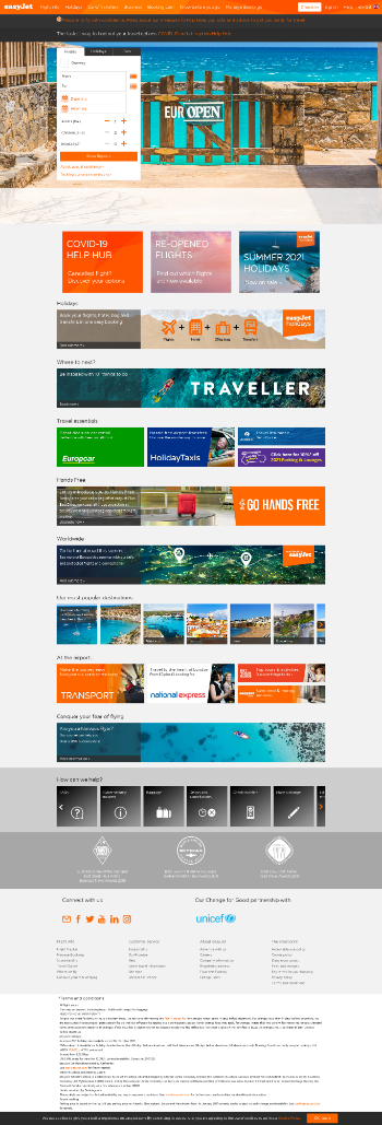 easyJet plc Website Screenshot