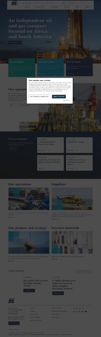 Tullow Oil plc Website Screenshot