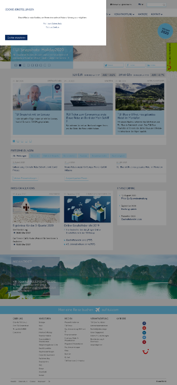 TUI AG Website Screenshot