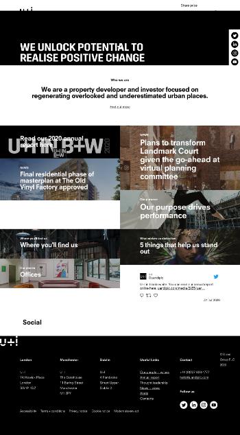 U and I Group PLC Website Screenshot