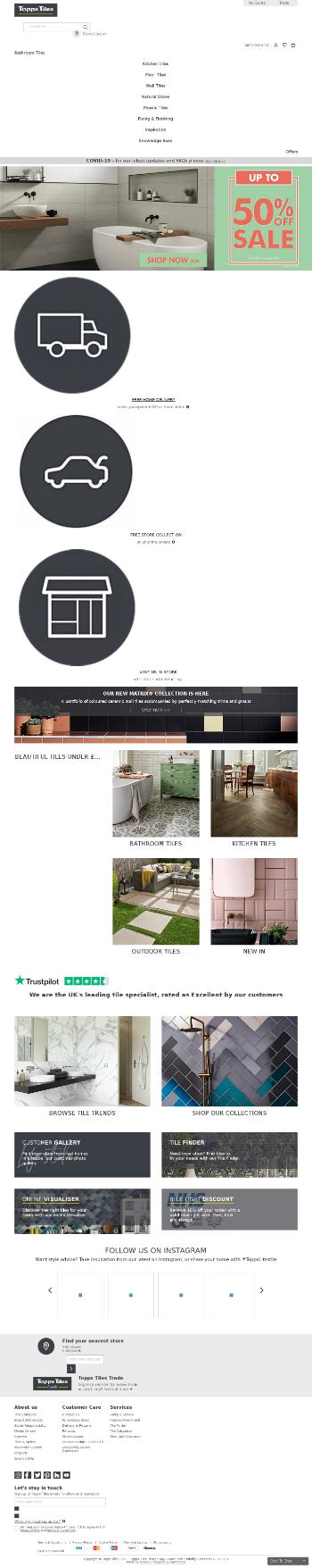 Topps Tiles Plc Website Screenshot