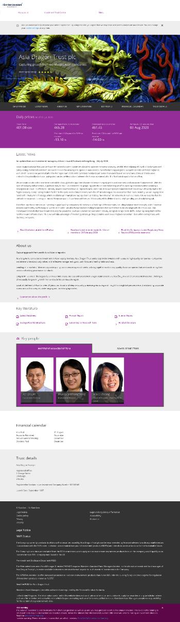 Asia Dragon Trust PLC Website Screenshot