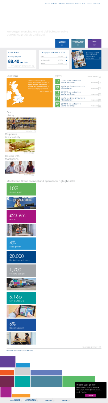 Macfarlane Group PLC Website Screenshot