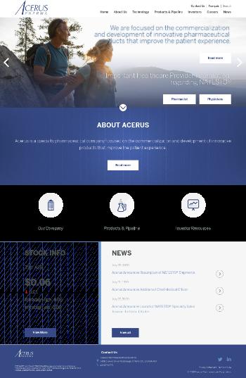 Acerus Pharmaceuticals Corporation Website Screenshot
