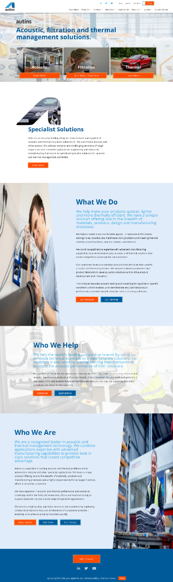 Autins Group plc Website Screenshot