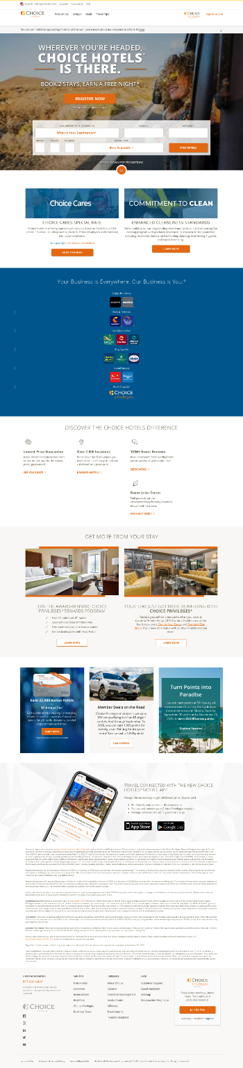 Choice Hotels International, Inc. Website Screenshot