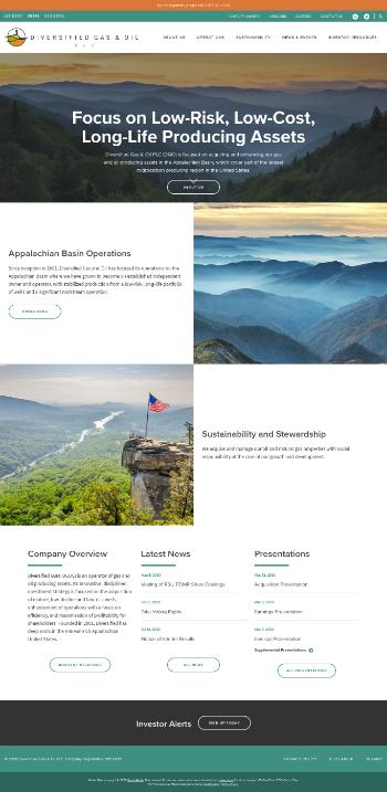 Diversified Gas & Oil PLC Website Screenshot