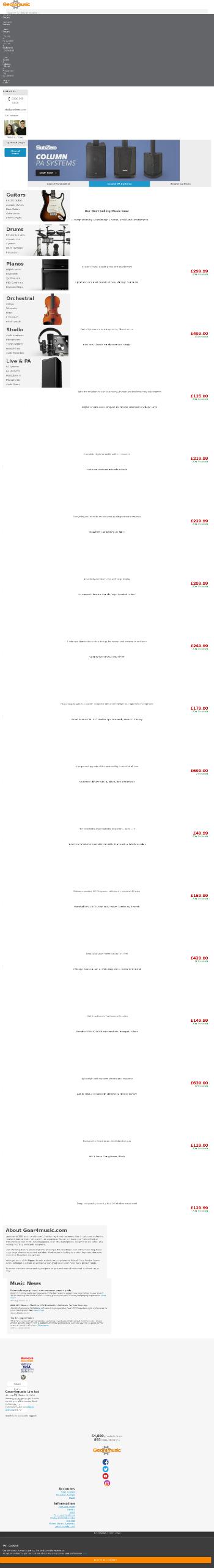 Gear4music (Holdings) plc Website Screenshot