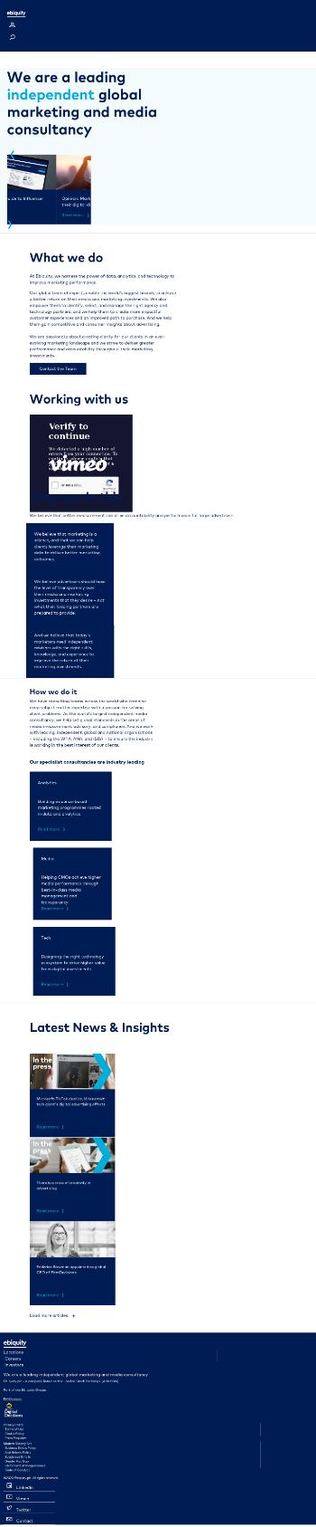 Ebiquity plc Website Screenshot