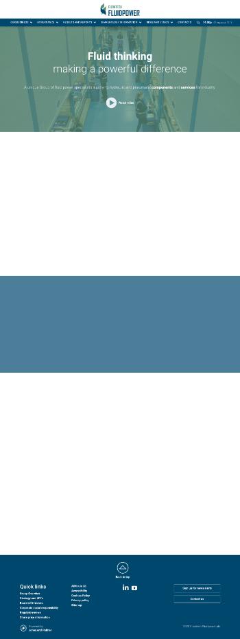 Flowtech Fluidpower plc Website Screenshot