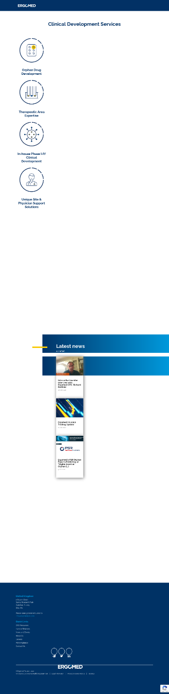 Ergomed plc Website Screenshot