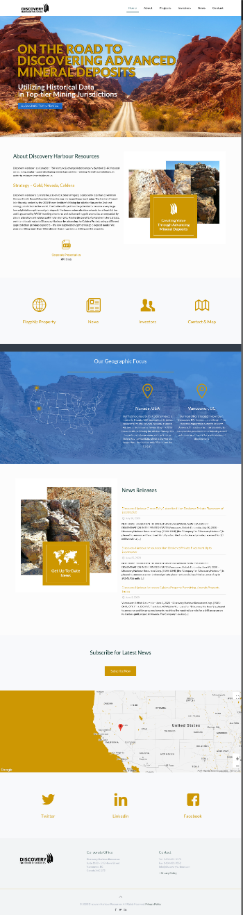 Discovery Harbour Resources Corp. Website Screenshot