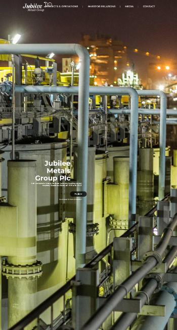 Jubilee Metals Group PLC Website Screenshot