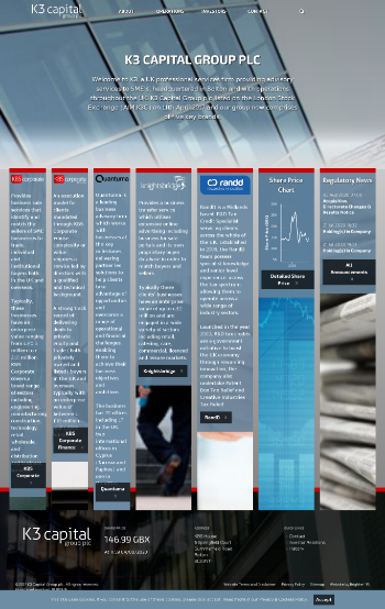K3 Capital Group PLC Website Screenshot