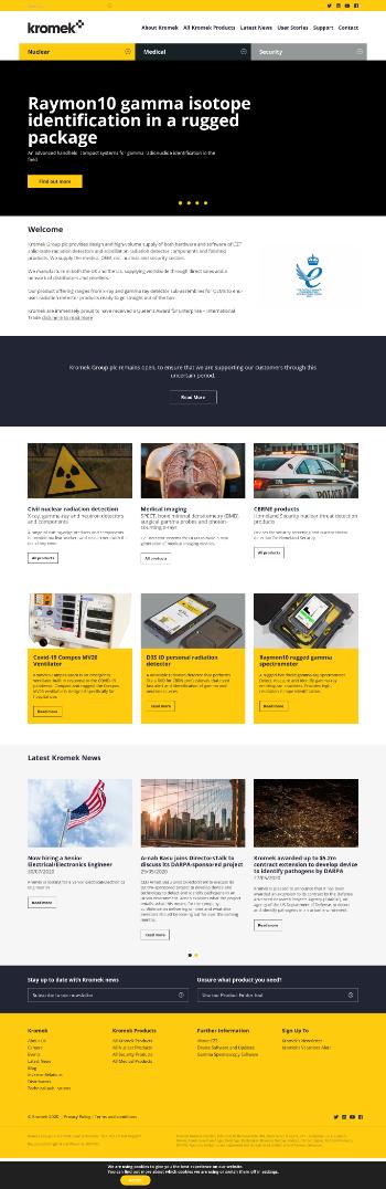 Kromek Group plc Website Screenshot