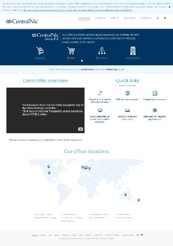 CentralNic Group Plc Website Screenshot