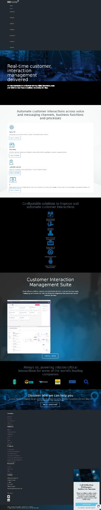 IMImobile PLC Website Screenshot