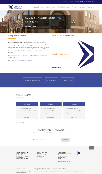 Civista Bancshares, Inc. Website Screenshot