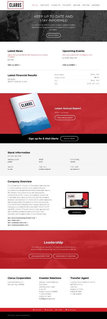 Clarus Corporation Website Screenshot