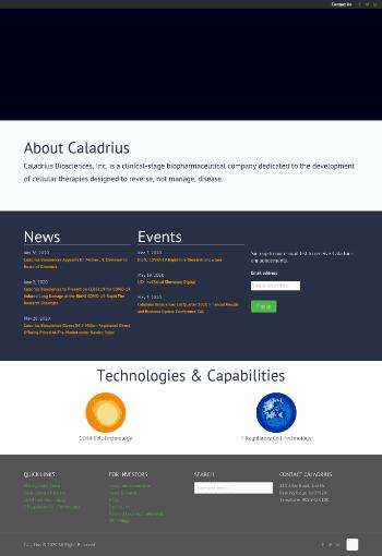 Caladrius Biosciences, Inc. Website Screenshot