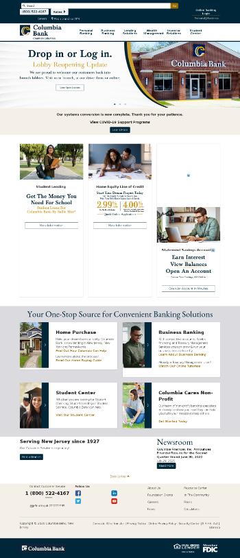 Columbia Financial, Inc. Website Screenshot