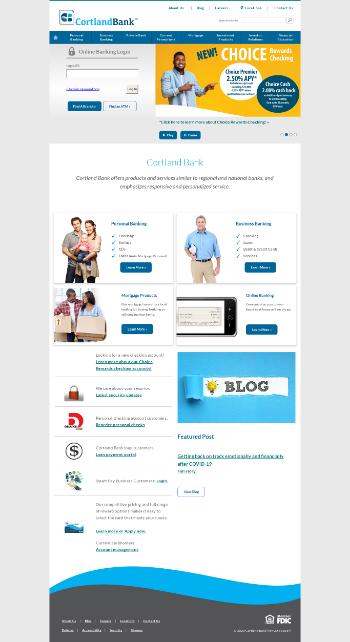 Cortland Bancorp Website Screenshot