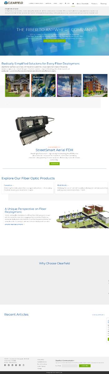 Clearfield, Inc. Website Screenshot