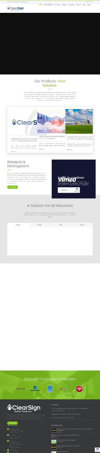 ClearSign Technologies Corporation Website Screenshot