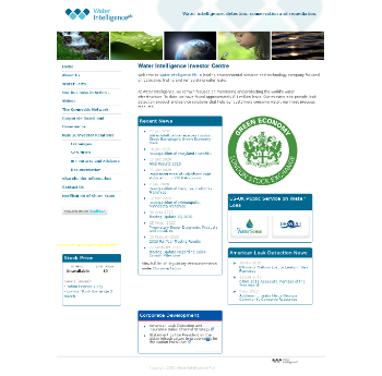 Water Intelligence plc Website Screenshot