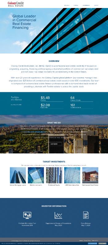 Colony Credit Real Estate, Inc. Website Screenshot