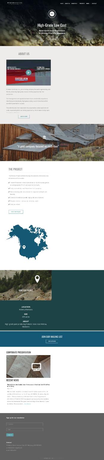 Winston Gold Corp. Website Screenshot