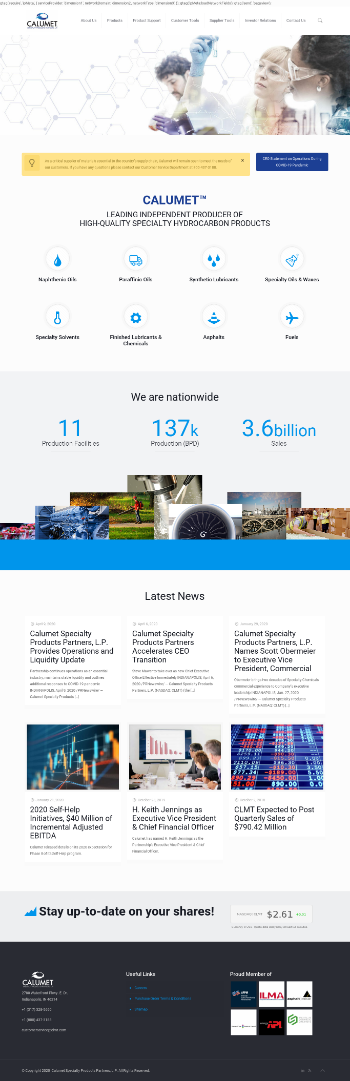 Calumet Specialty Products Partners, L.P. Website Screenshot