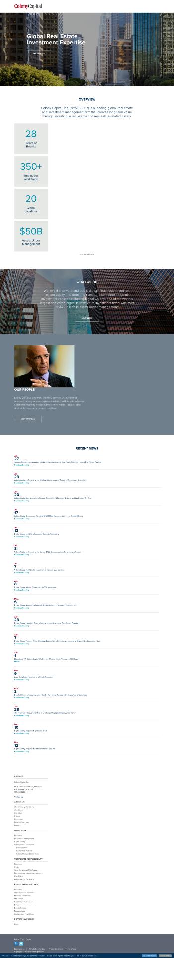 Colony Capital, Inc. Website Screenshot