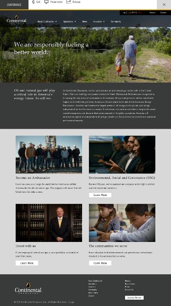 Continental Resources, Inc. Website Screenshot