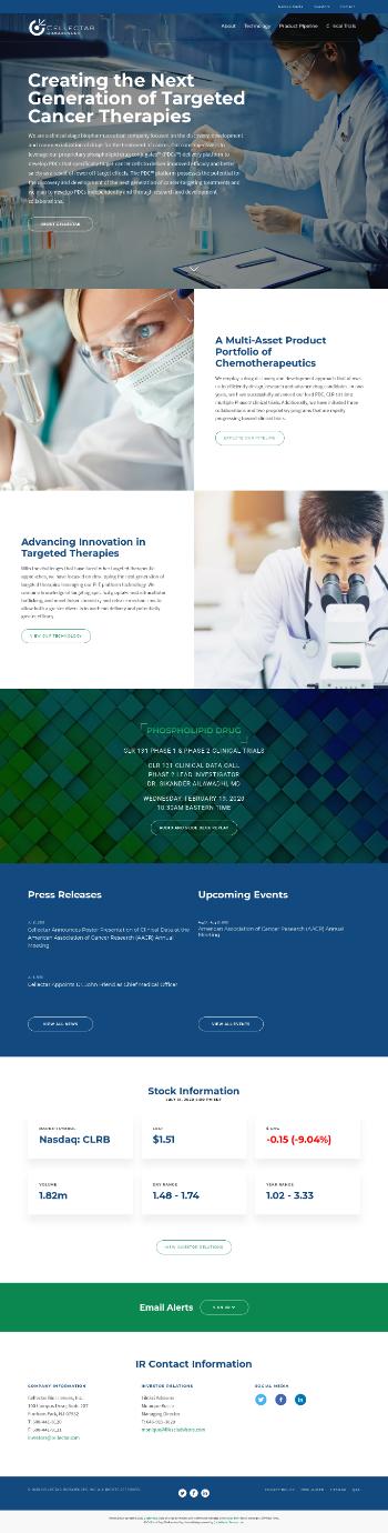 Cellectar Biosciences, Inc. Website Screenshot