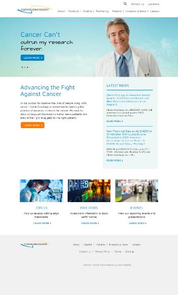 Clovis Oncology, Inc. Website Screenshot