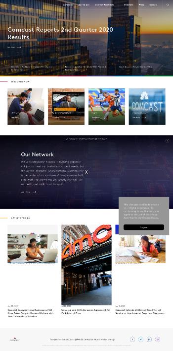 Comcast Corporation Website Screenshot