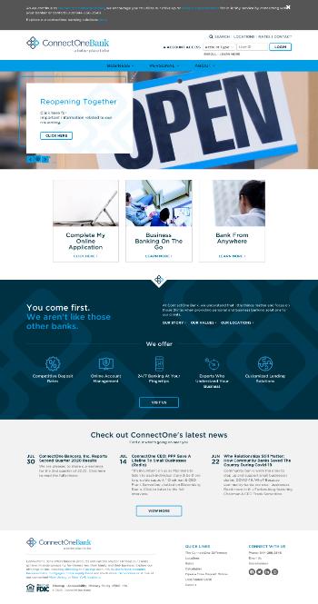 ConnectOne Bancorp, Inc. Website Screenshot