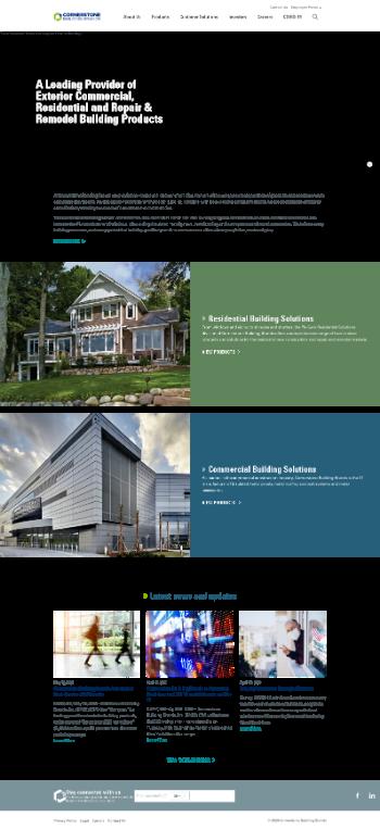 Cornerstone Building Brands, Inc. Website Screenshot